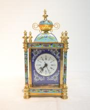 CLOISONNE CLOCK WITH PORTAITS ON SIDE