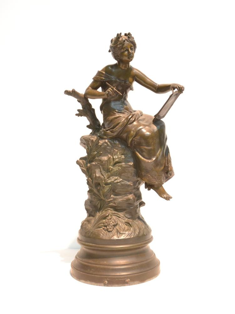 L & F MOREAU SPELTER FIGURE OF GIRL WRITING