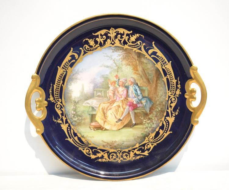 TWIN HANDLE SEVRES CHARGER WITH COUPLE & BABY