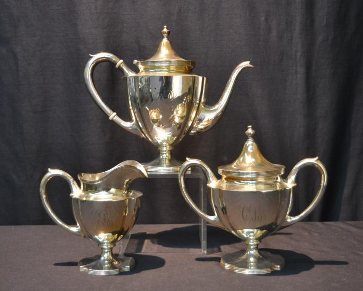 (3) STERLING SILVER TEA SERVICE CONSISTING OF