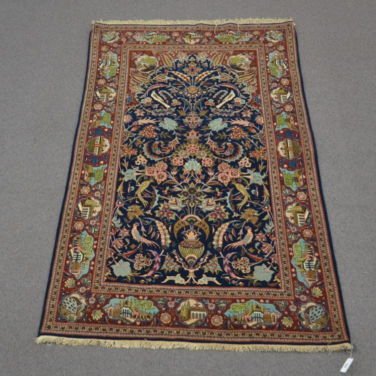 ANTIQUE PICTORAL PERSIAN RUG WITH SCROLL &