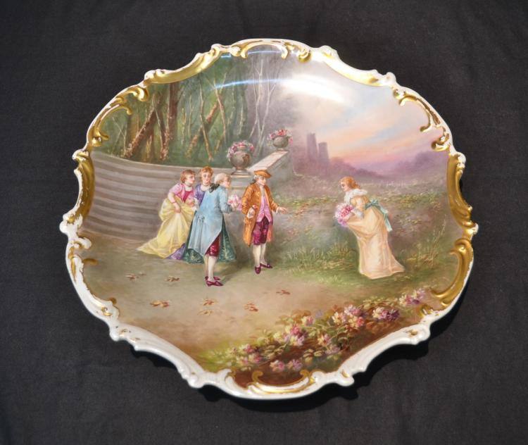 HAND PAINTED LIMOGES CHARGER WITH FIGURES