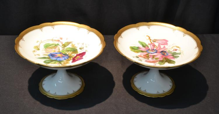 (Pr) HAND PAINTED FRENCH PORCELAIN TAZZAS BY