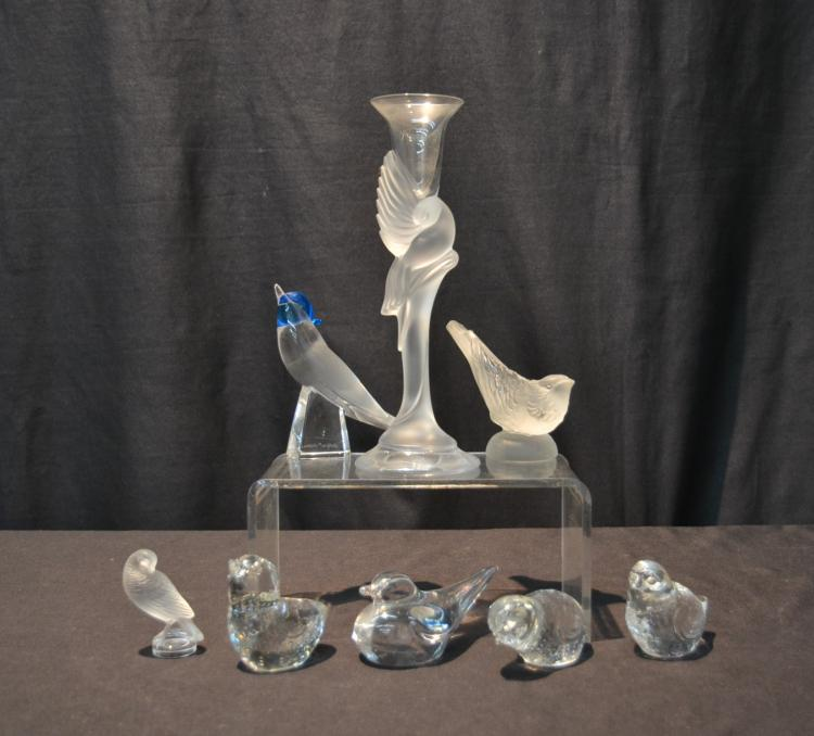 (7) CRYSTAL BIRDS TO INCLUDE FABERGE BIRD VASE ,