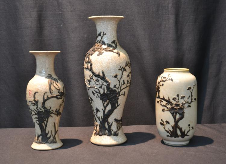 (3) CHINESE CRACKLE PORCELAIN VASES WITH RAISED