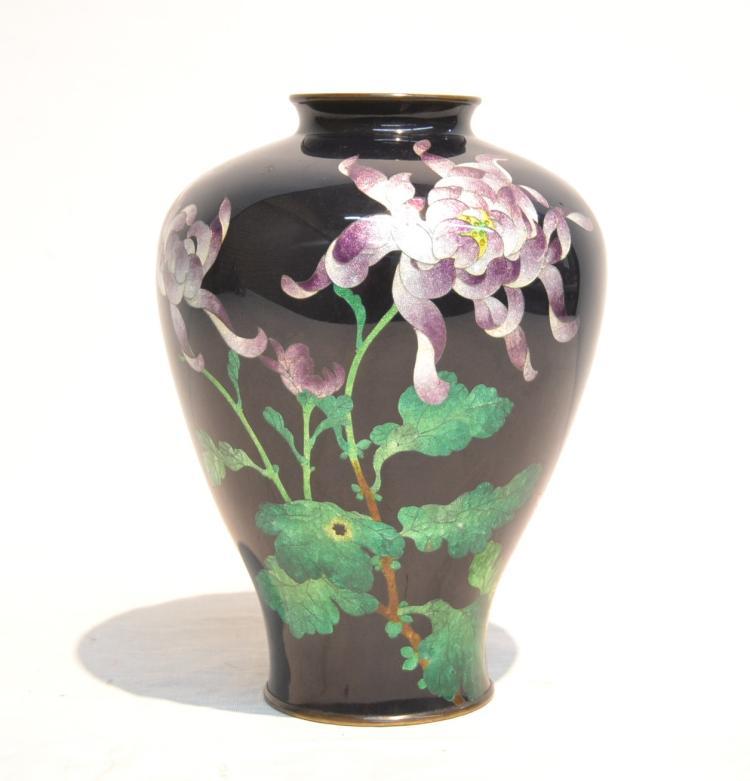 JAPANESE FOIL CLOISONNE VASE WITH PURPLE FLOWERS