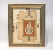PERSIAN COLLAGE WITH PORTRAIT SURROUNDED