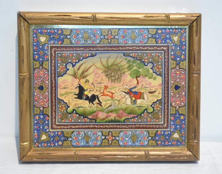 PERSIAN MINIATURE WITH FIGURES FIGHTING WITH