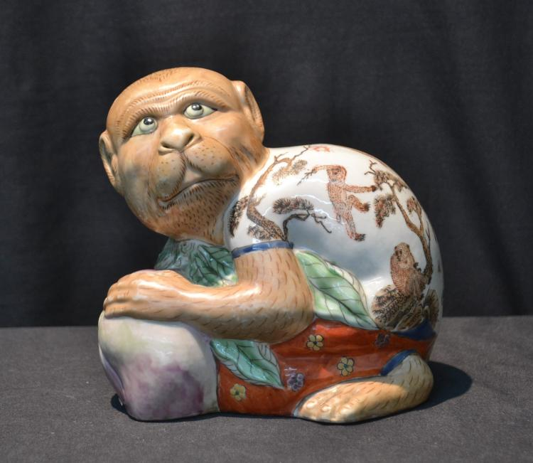CHINESE PORCELAIN MONKEY GUARDING FRUIT