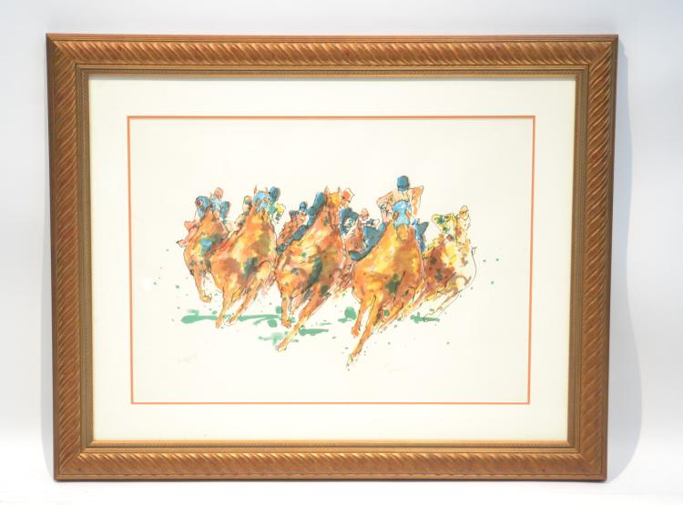 TED TANABE , HORSE RACING LITHOGRAPH