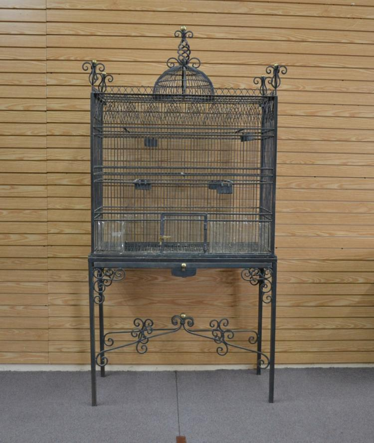 VINTAGE 2-PART IRON BIRDCAGE WITH CATHEDRAL