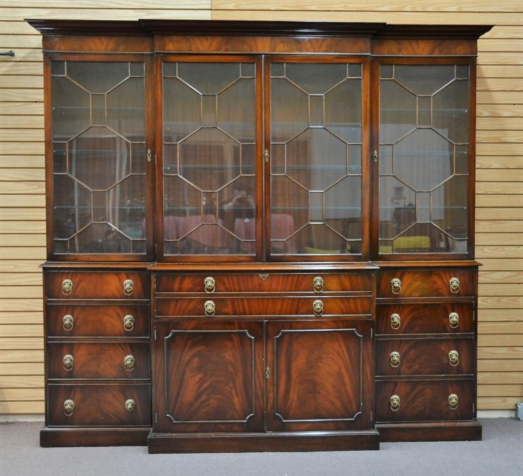 LARGE ENGLISH MAHOGANY BREAKFRONT WITH