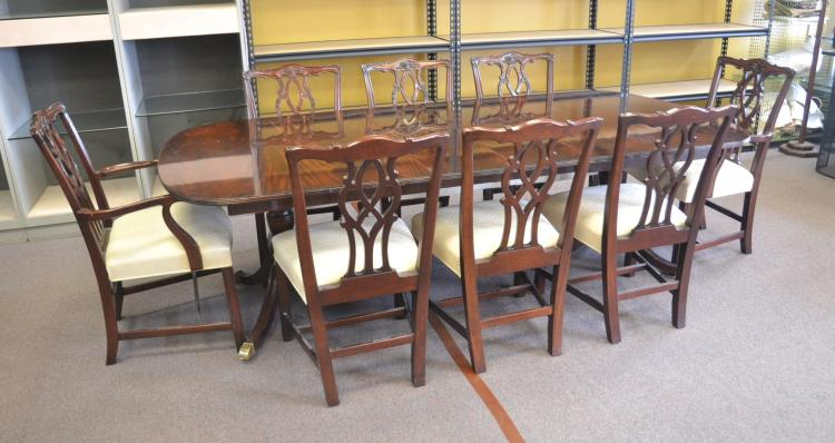 KINDEL MAHOGANY DINING ROOM TABLE & CHAIRS