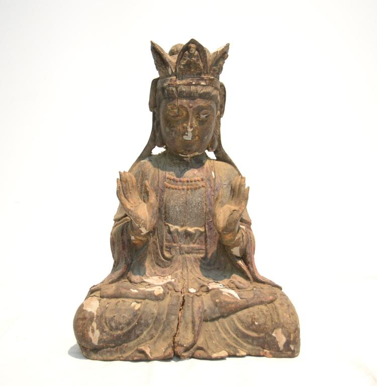ANTIQUE CHINESE WOOD CARVING OF SEATED QUAN YIN