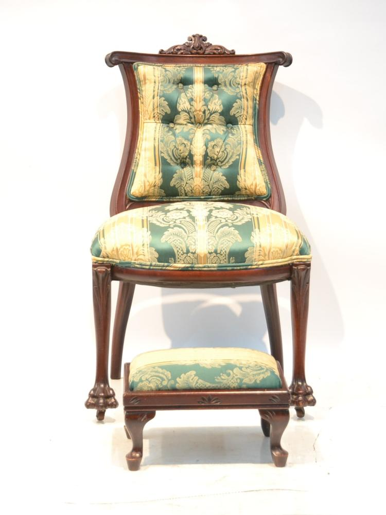 VICTORIAN TUFTED BACK CHAIR & UPHOLSTERED