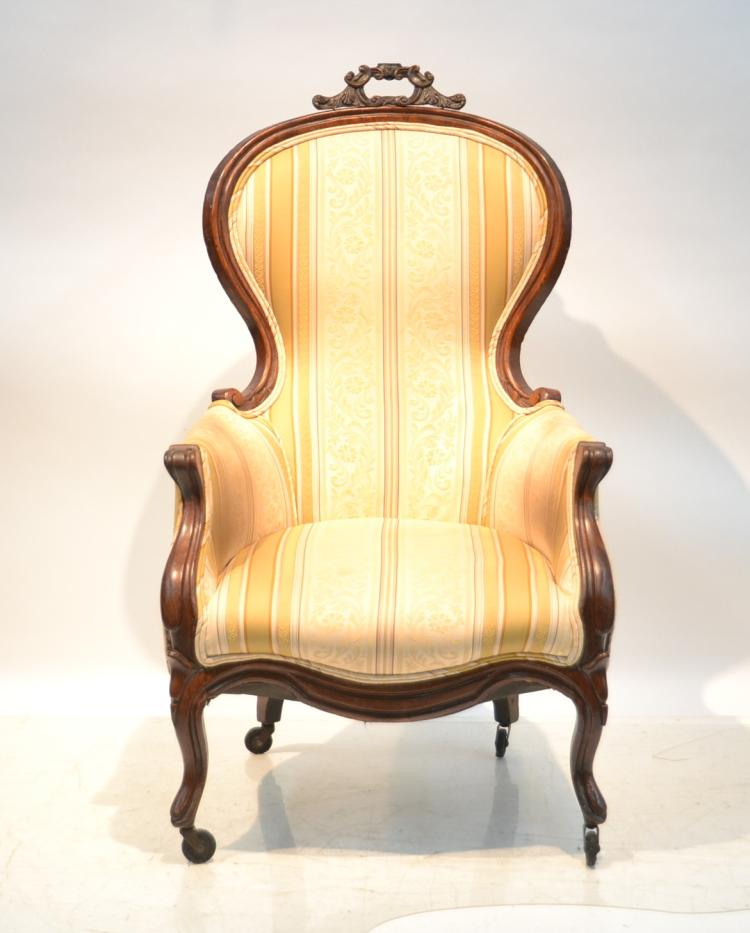 VICTORIAN CARVED ARM CHAIR WITH
