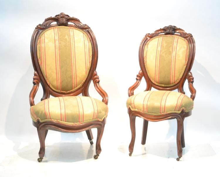 (Pr) VICTORIAN SIDE CHAIRS WITH CARVED CARTOUCHE