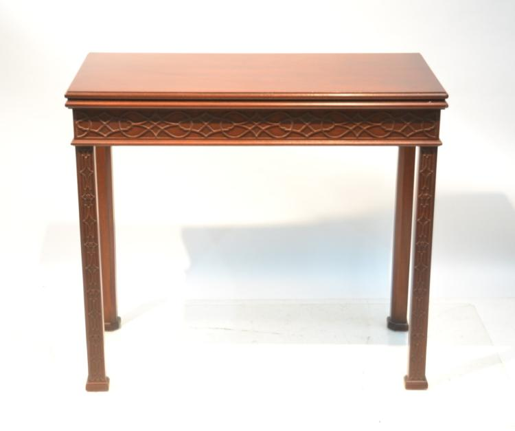 CHINESE CHIPPENDALE MAHOGANY FLIP TOP CARD TABLE