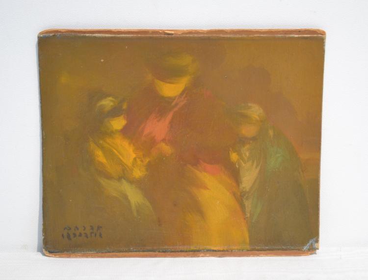 ABRAHAM GOLDBERG , ISRAEL JUDAICA OIL ON BOARD