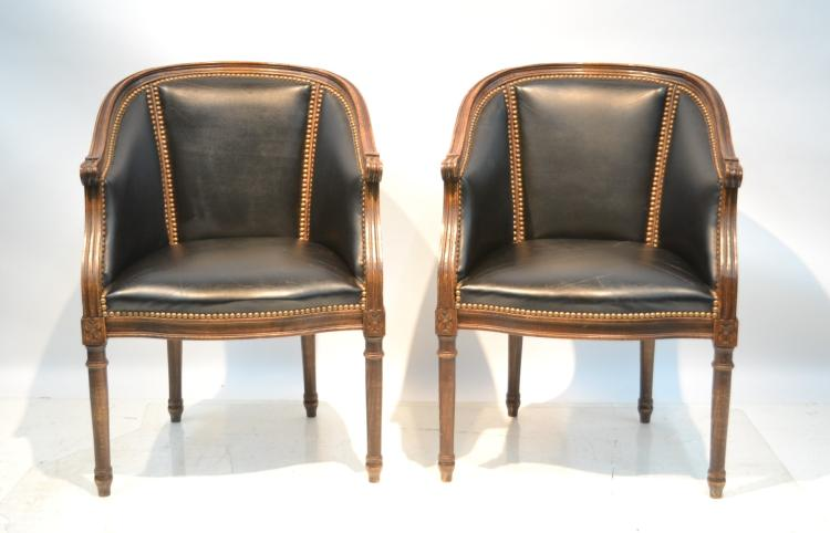 (Pr) LEATHER UPHOLSTERED BERGERE CHAIRS