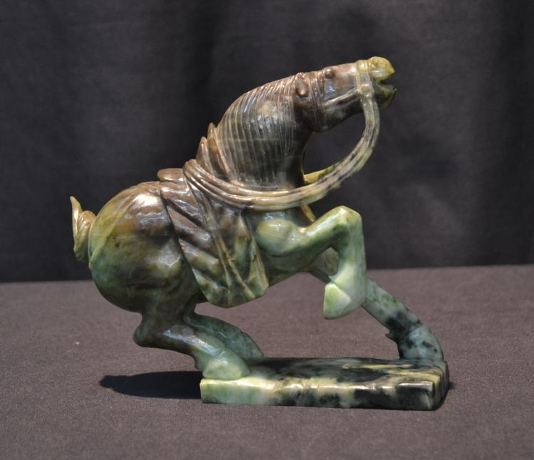 CARVED JADE REARING HORSE - 7