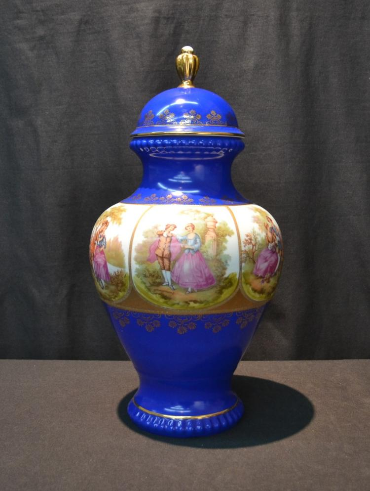 GERMAN PORCELAIN COVERED URN WITH
