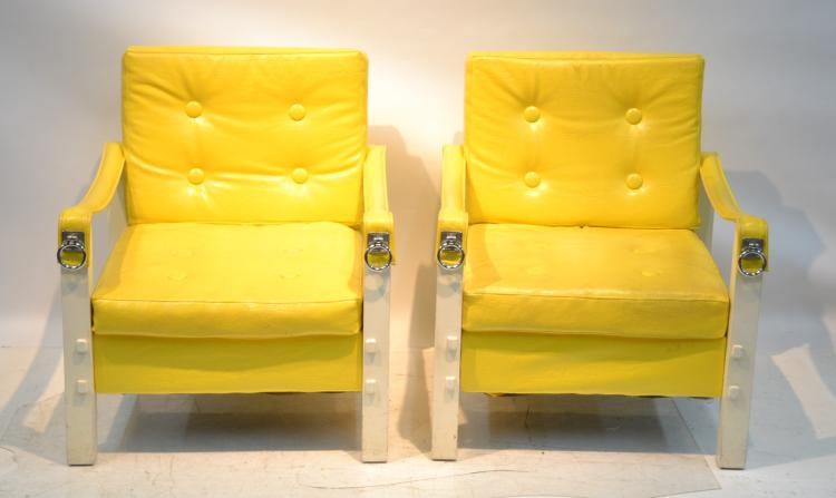 (Pr) MODERN YELLOW UPHOLSTERED CHAIRS WITH