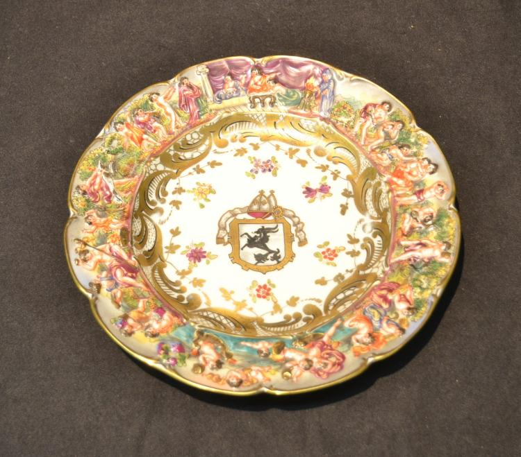 FRENCH CAPODIMONTE ARMORIAL PLATE WITH