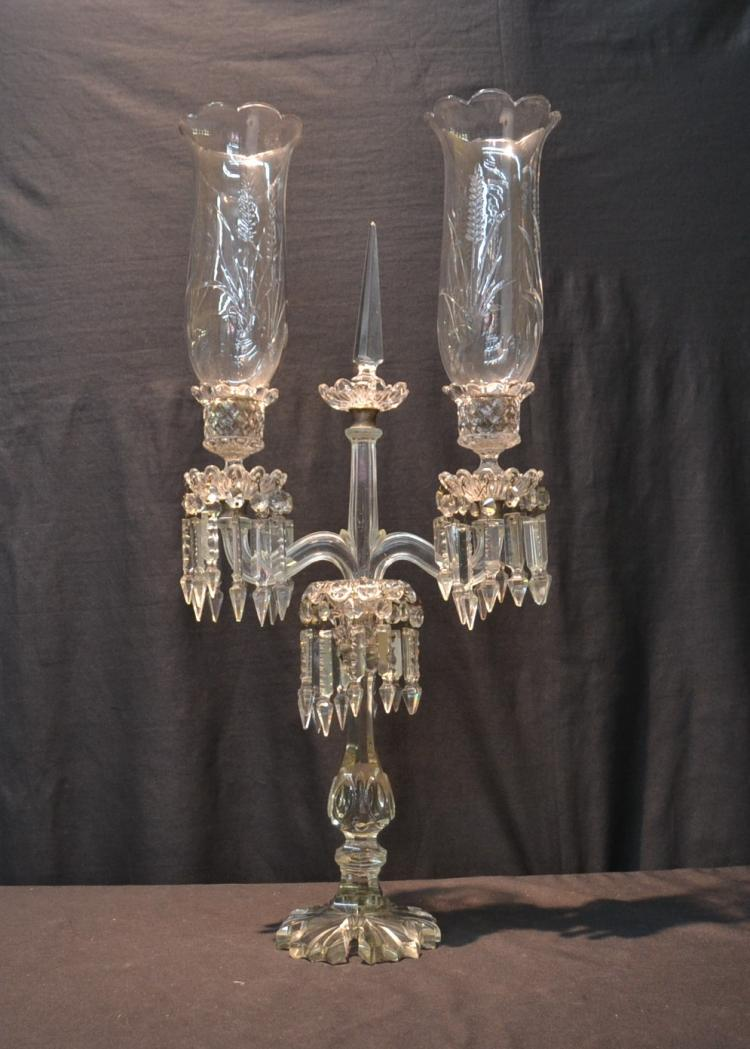 BACCARAT STYLE TRIPLE CANDELABRA WITH