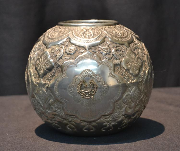 PERSIAN ENGRAVED SILVER BOWL WITH 18kt WREATH