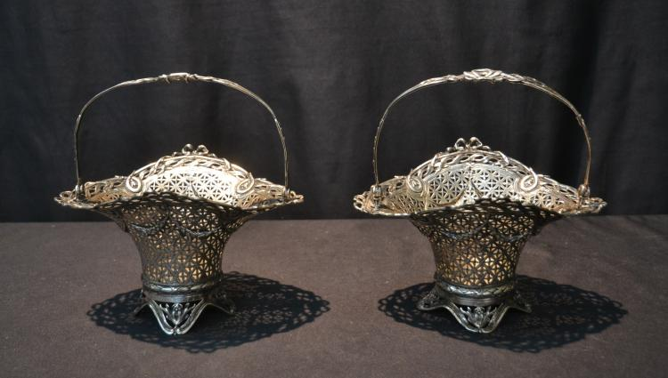 (Pr) RETICULATED 800 SILVER HANDLED BASKETS