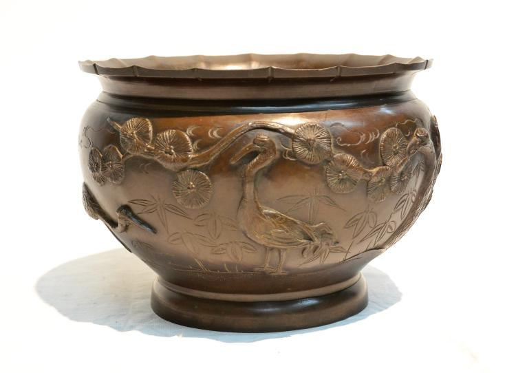 JAPANESE BRONZE JARDINIERE WITH RAISED