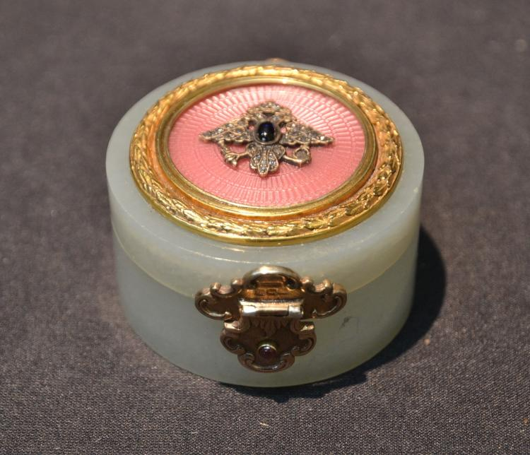 RUSSIAN SILVER & BOVENITE PILL BOX WITH