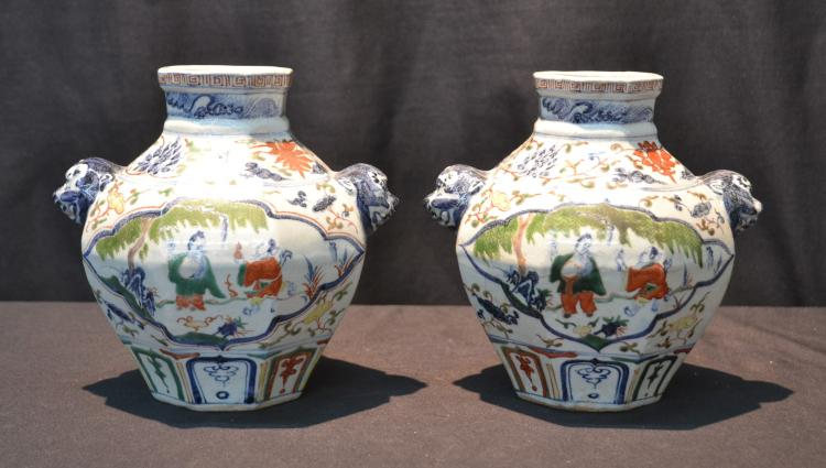 (Pr) CHINESE PORCELAIN VASES WITH FIGURINES
