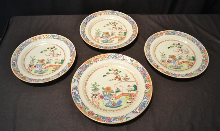 (3) CHINESE PORCELAIN PLATES & 11