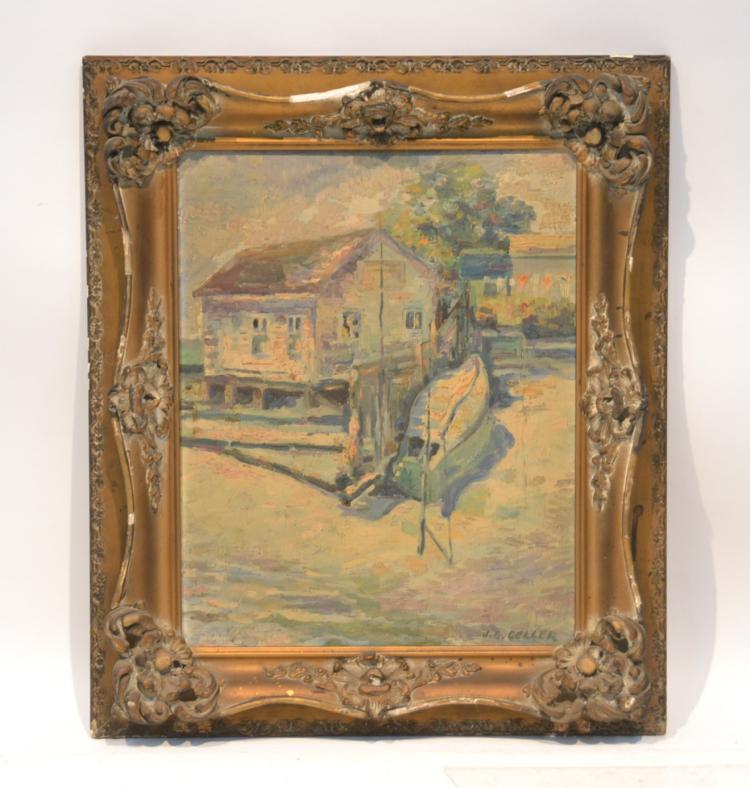 J.C. GELLER , OIL ON BOARD OF BOATHOUSE