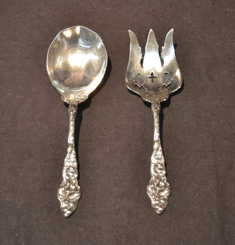 (2) LARGE STERLING SILVER HEAVY FLORAL PATTERN