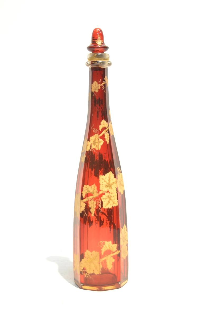 RUBY BOHEMIAN BOTTLE WITH GRAPES &