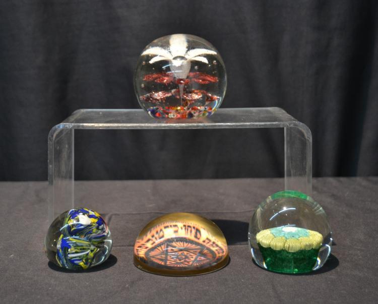 (4) ART GLASS PAPERWEIGHTS INCLUDING JUDAICA &
