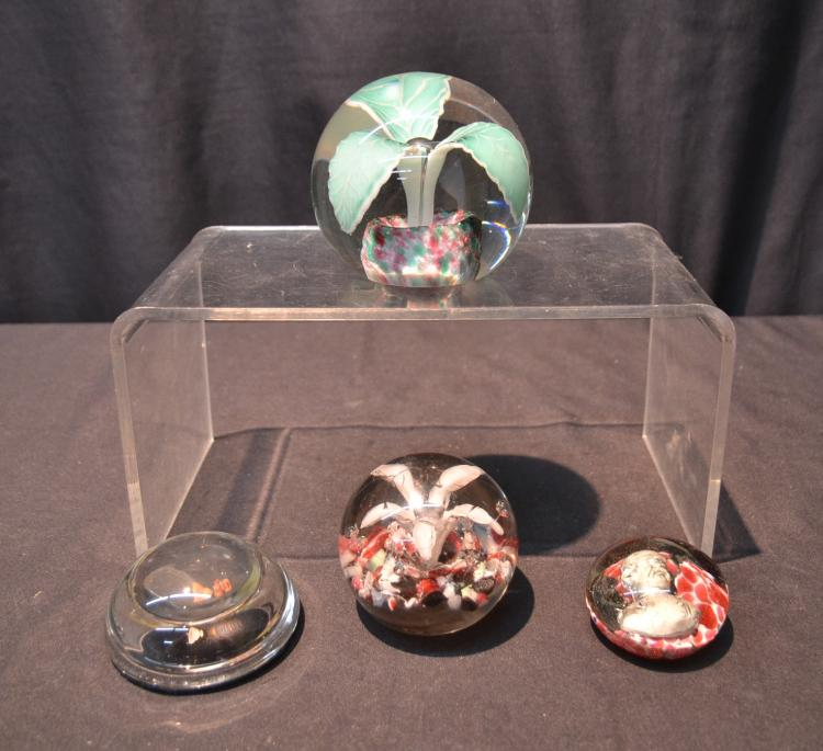 (4) ART GLASS PAPERWEIGHTS INCLUDING