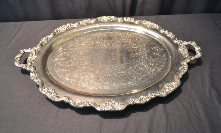 VERY LARGE TOWLE SILVER PLATE SERVING TRAY