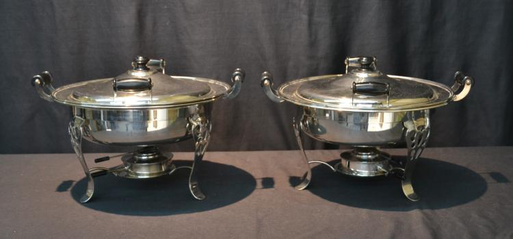 (Pr) LARGE SILVER PLATE CHAFING DISHES