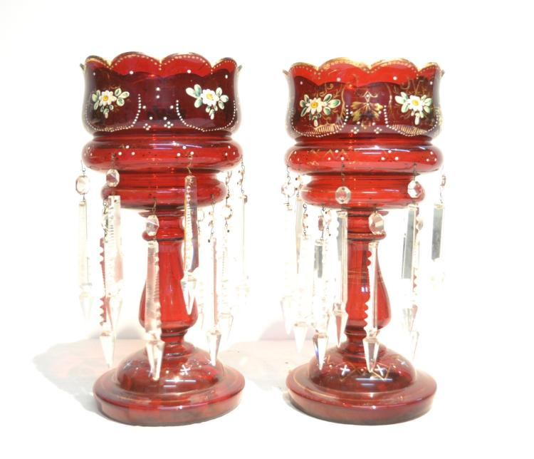 (Pr) RUBY GLASS LUSTRES WITH DOUBLE ROW