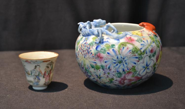 CHINESE PORCELAIN BOWL WITH DRAGON &