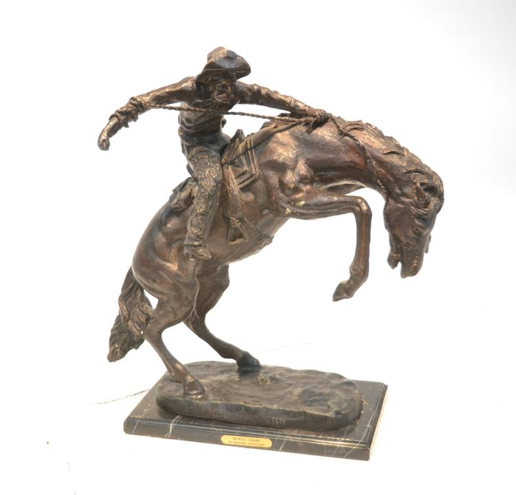 REMINGTON RECAST , BRONZE ROUGH RIDER STATUE