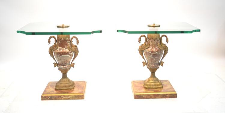 (Pr) BRONZE & MARBLE CASTELETTE FORM GLASS TOP