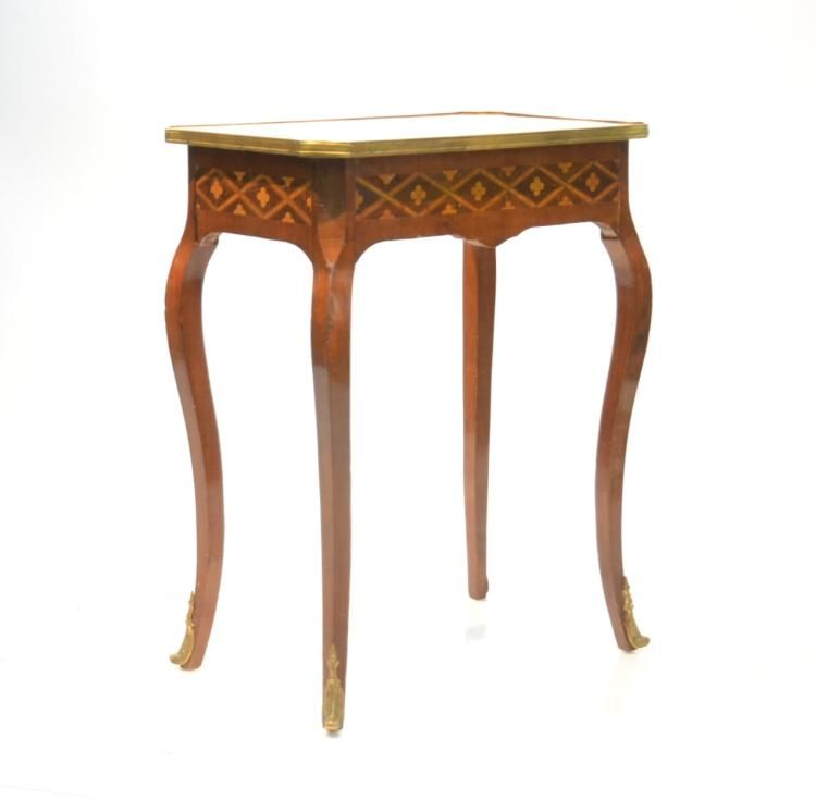 FRENCH PARQUETRY INLAID MARBLE TOP SIDE TABLE