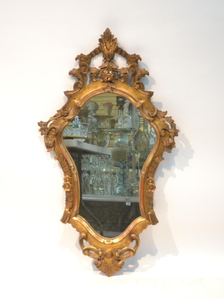 ITALIAN CARVED GILTWOOD MIRROR WITH FLOWERS