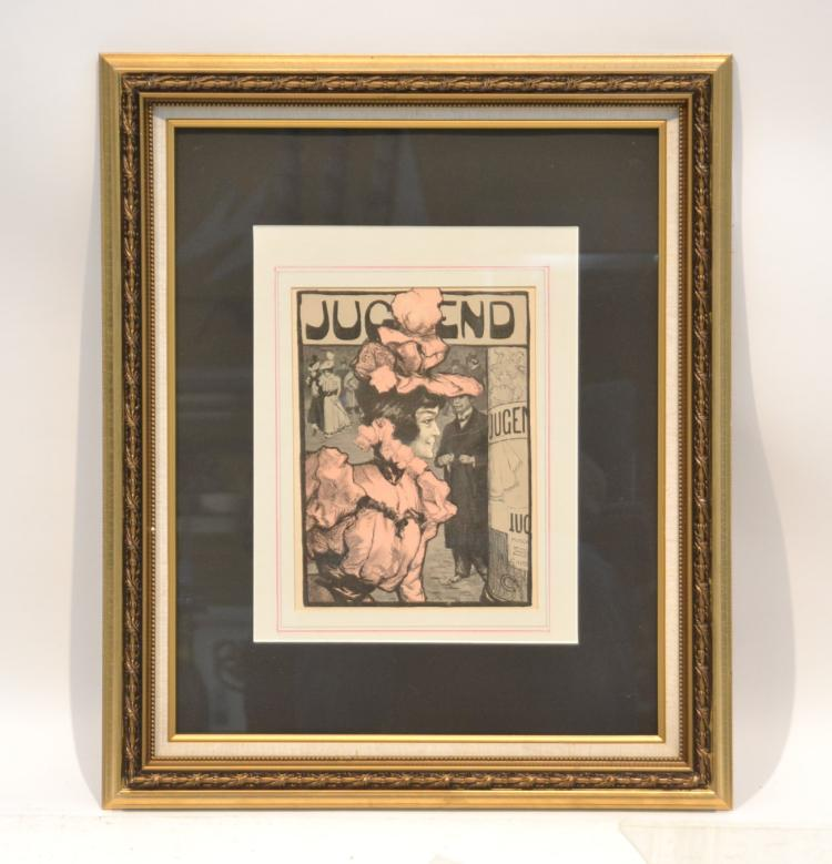 FRAMED JUGEND MAGAZINE COVER OF WOMAN
