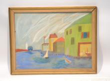 PASTEL OF BOATS BY BOAT HOUSE ; SIGNED